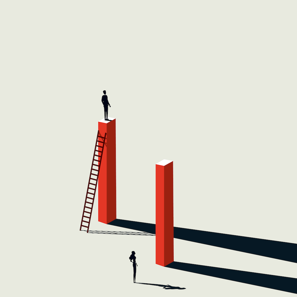 business inequality, woman and man climbing the career ladder, gender inequality