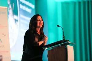 Baroness Joanna Shields speaking at our 2018 WeAreTechWomen conference
