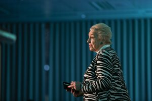 Dame Stephanie Shirley speaking at our WeAreTechWomen's 2018 Conference