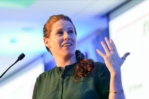 Caroline Criado Perez speaking at the 2019 WeAreTechWomen Conference