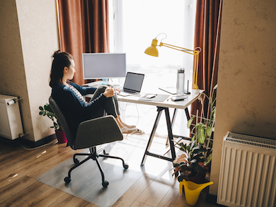 woman working from home, flexible working