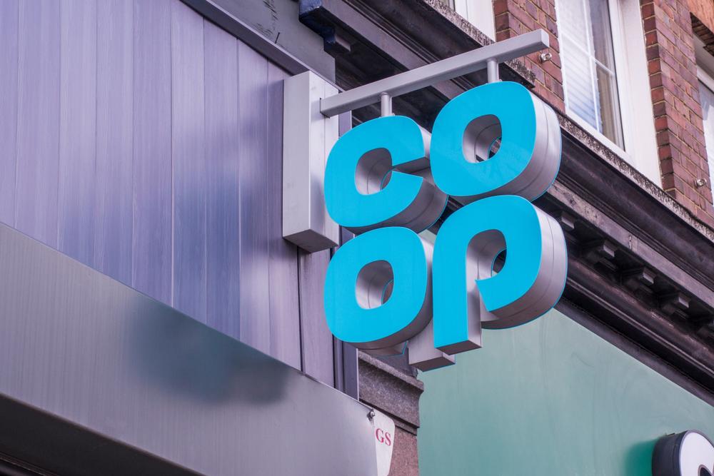 Co-op food exterior logo sign. A large British food retailer