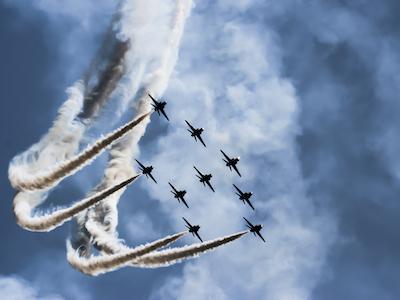 RAF planes in formation, leading teams