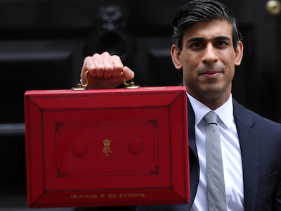 Chancellor of the Exchequer Rishi Sunak hold red box outside 11 Downing Street